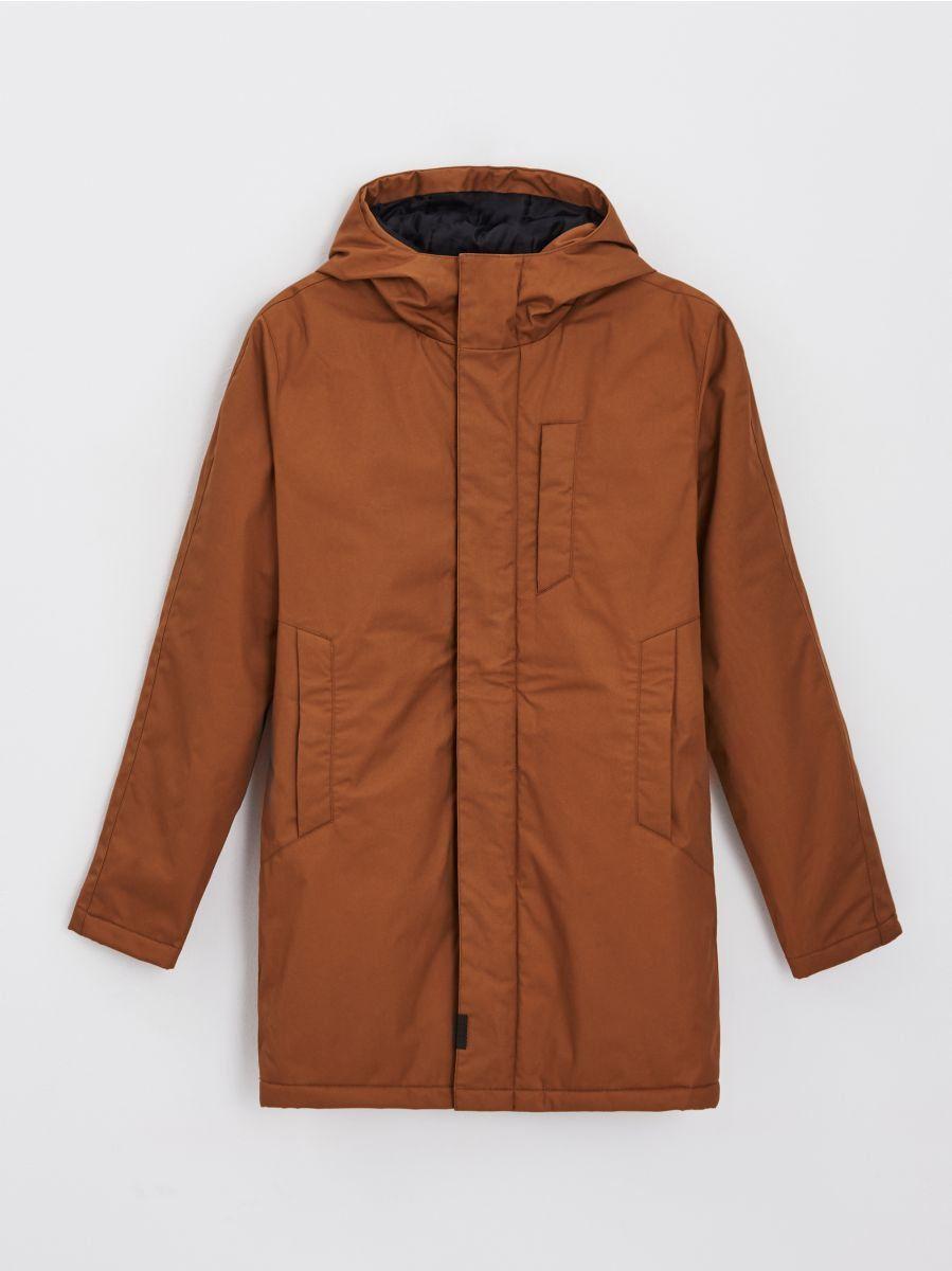 Gładki płaszcz z kapturem (pełna rozmiarówka)