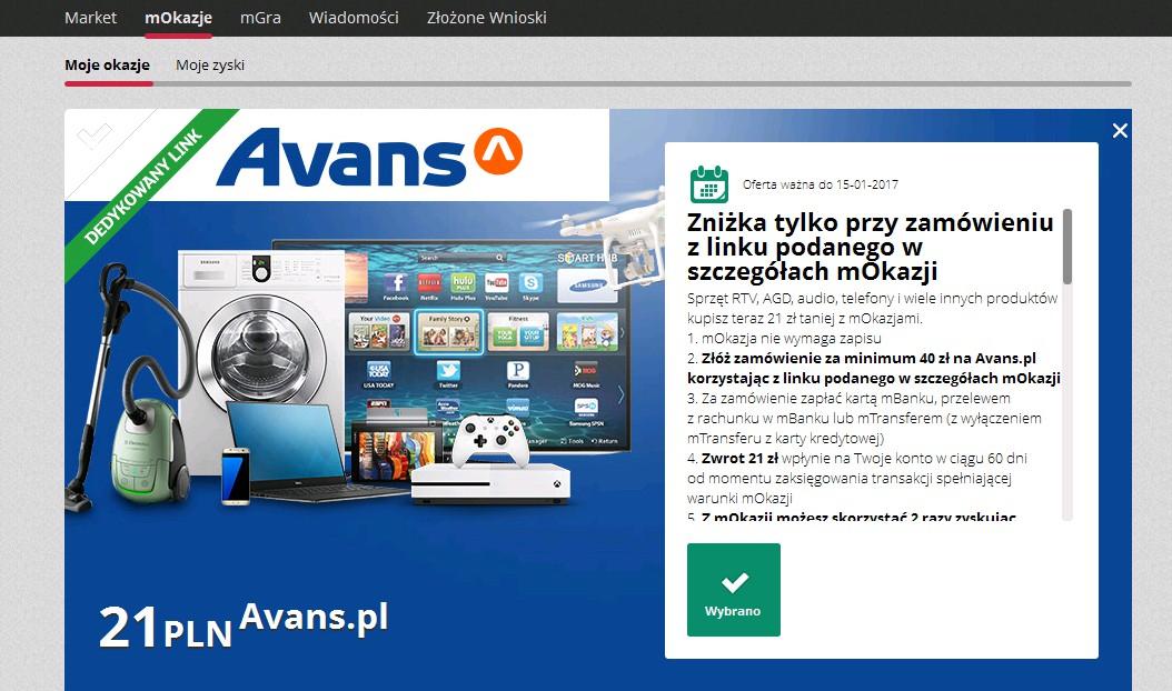 Zwrot 21 zł przy zakupie za 40 zł w sklepie Avans @mOkazje