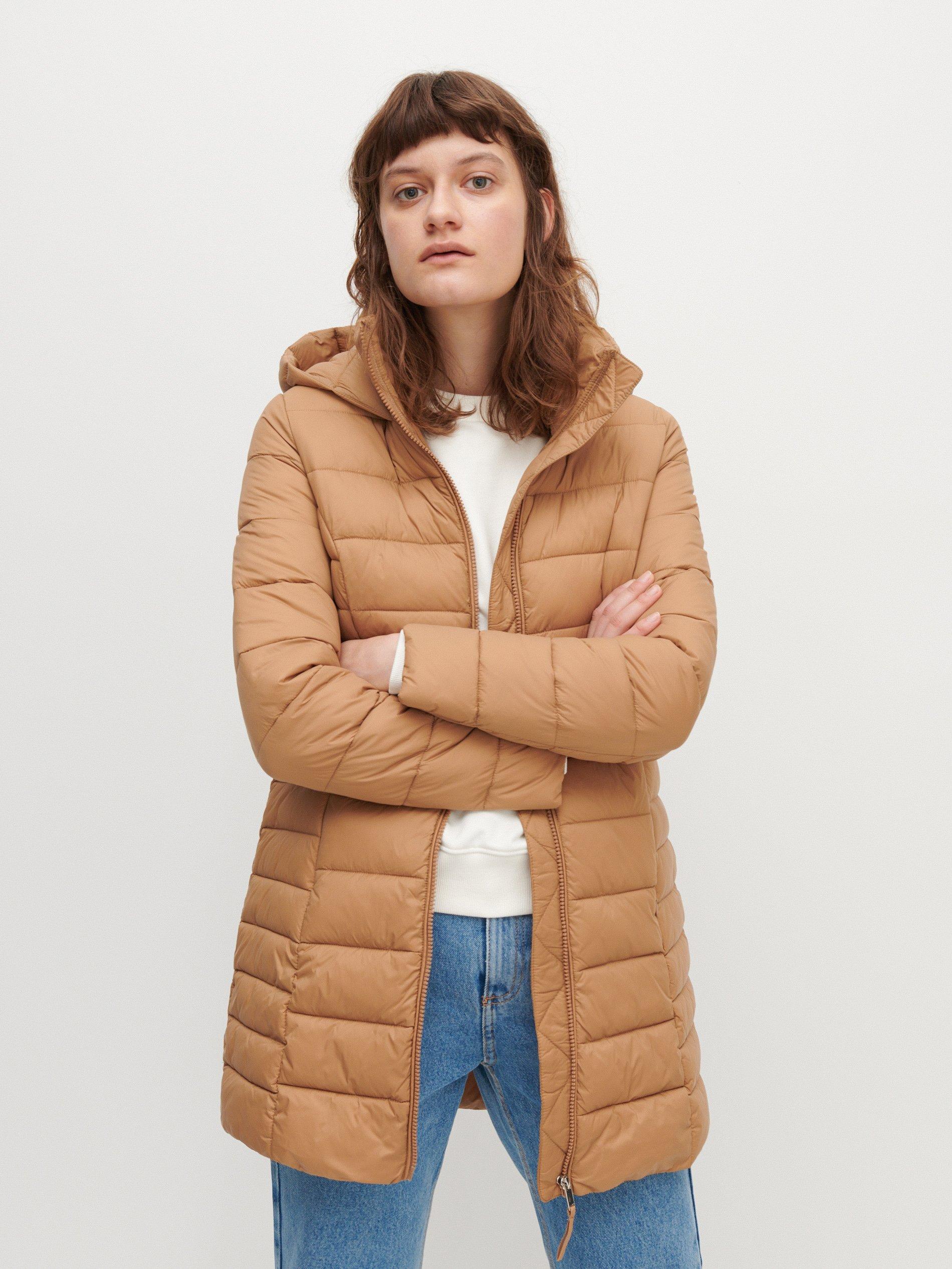 Damski Pikowany płaszcz z kapturem