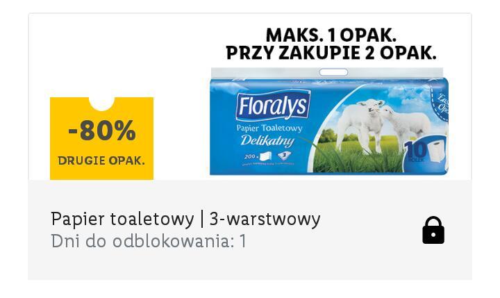 Papier toaletowy Floralys - drugie opak. - 80 % (1 rolka = 0,78 zł) kupon w aplikacji Lidl Plus