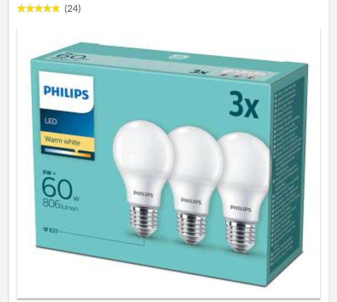 Żarówki Philips LED 9 W (60 W) E27 3 szt. 806 lm, 2700 K, O. os. 0 zł