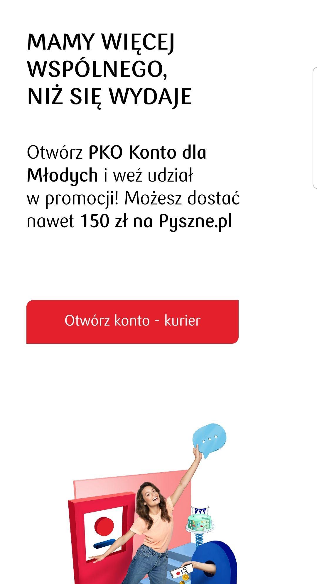 150 zł na Pyszne za otwarcie PKO konta dla młodych