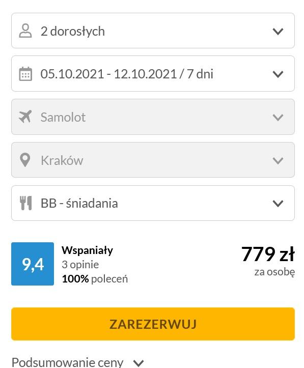 Wczasy z Biurem podrózy samolot i hotel od 5.10-12.10.2021 - Wylot z Krakowa ( snaidania w cenie)