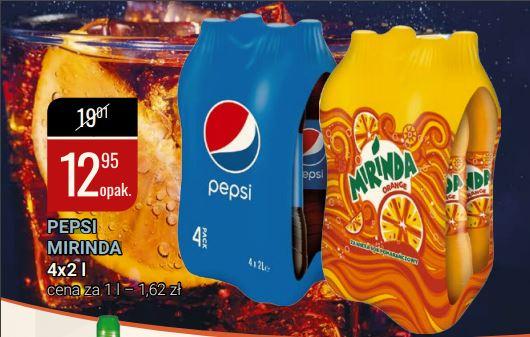 Pepsi Mirinda 2L za 3,24 zł przy zakupie opakowania zbiorczego w liczbie czterech sztuk, w hipermarkecie bi1 od 3.lutego