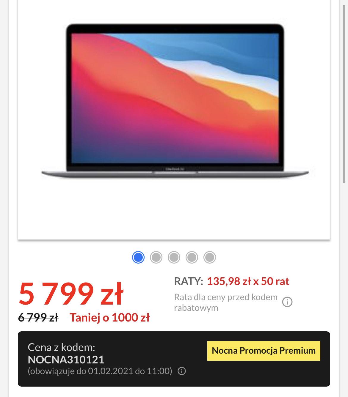 """Apple Macbook Air M1 13,3"""" Apple M1 - 8GB RAM - 512GB Dysk - macOS (gwiezdna szarość)"""