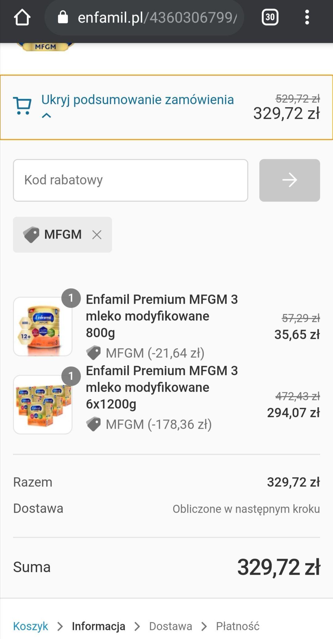-200 zł za wydane (mwz) 500zł w oficjalnym sklepie enfamil