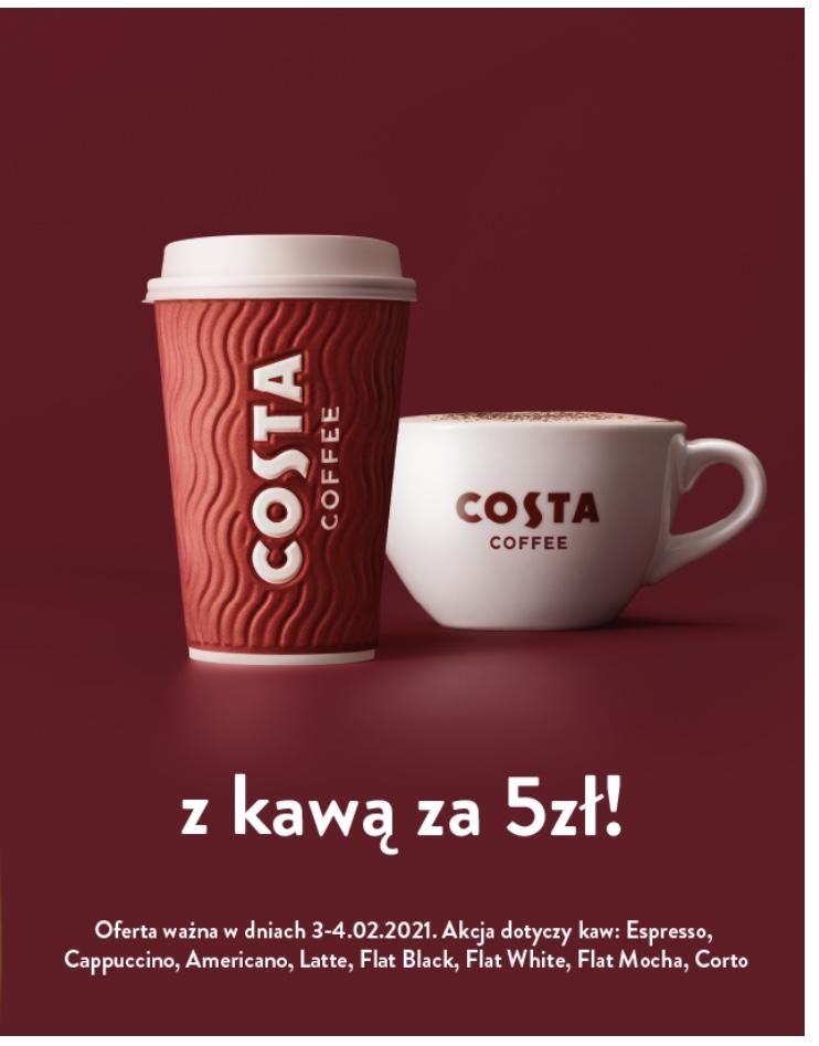 Costa Coffee - kawa za 5zł w dniach 3-4.02.2021 każdy rozmiar z oferty klasycznej!