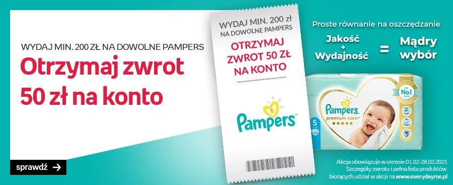 50 zł zwrotu przy zakupie produktów Pampers