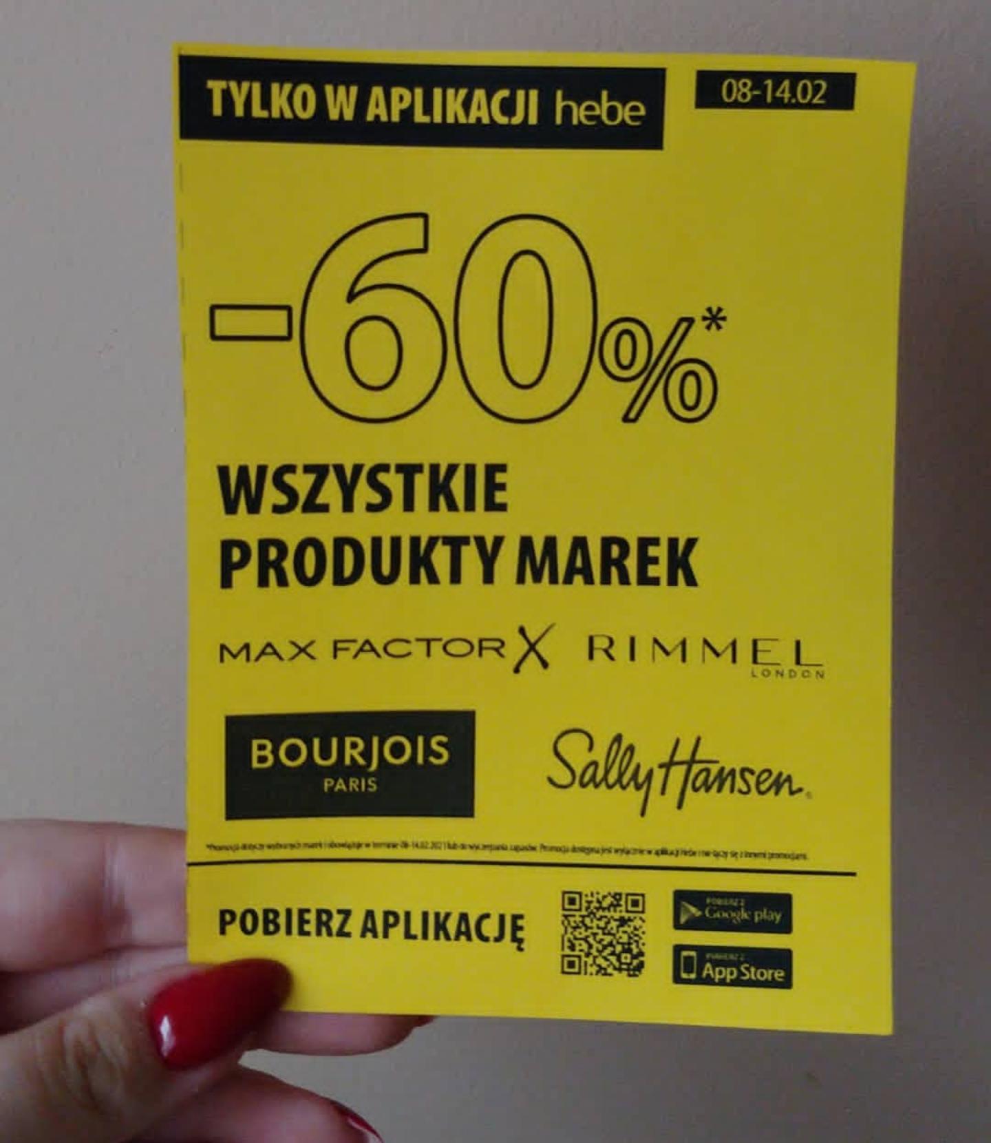 Hebe promo -60% na wybrane marki makijażowe