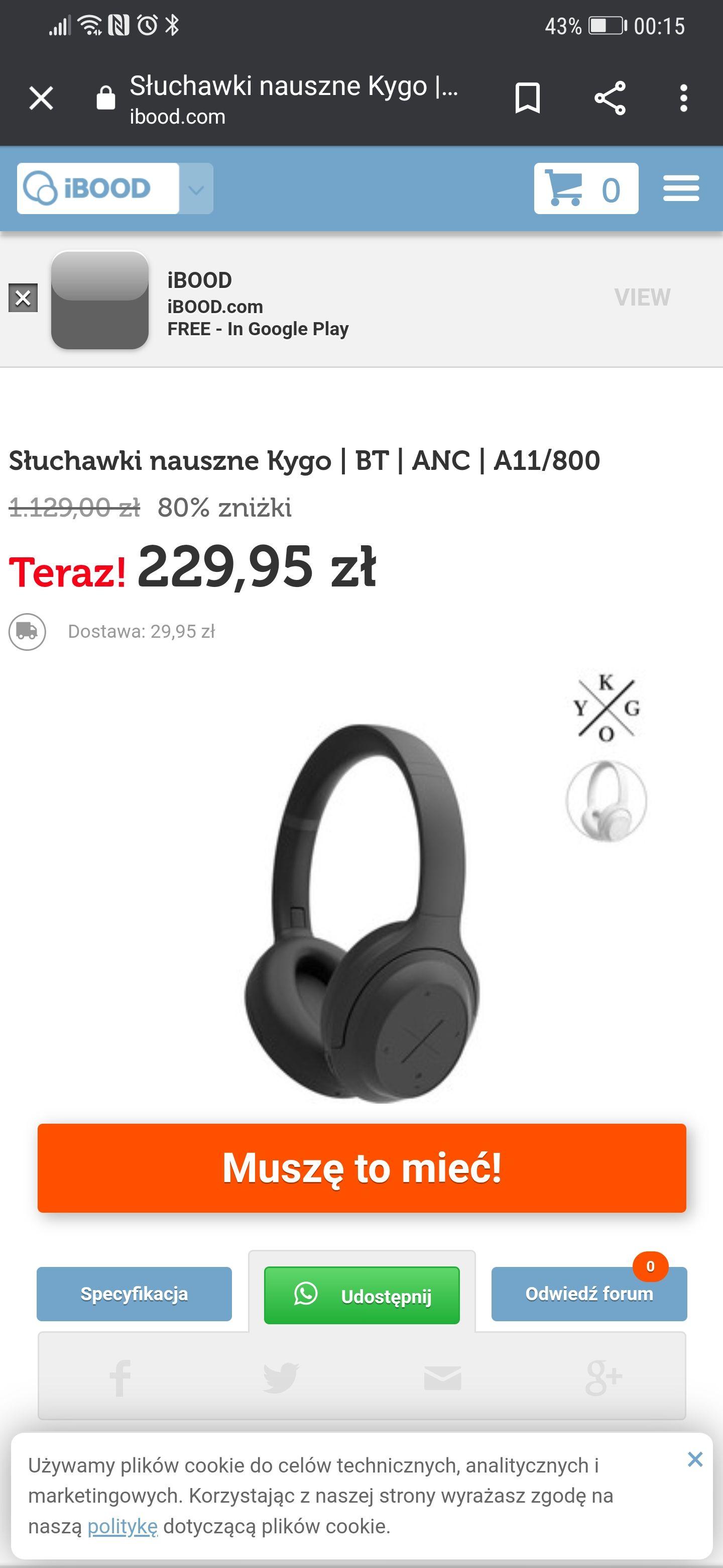 IBOOD - Słuchawki nauszne Kygo | BT | ANC | A11/800