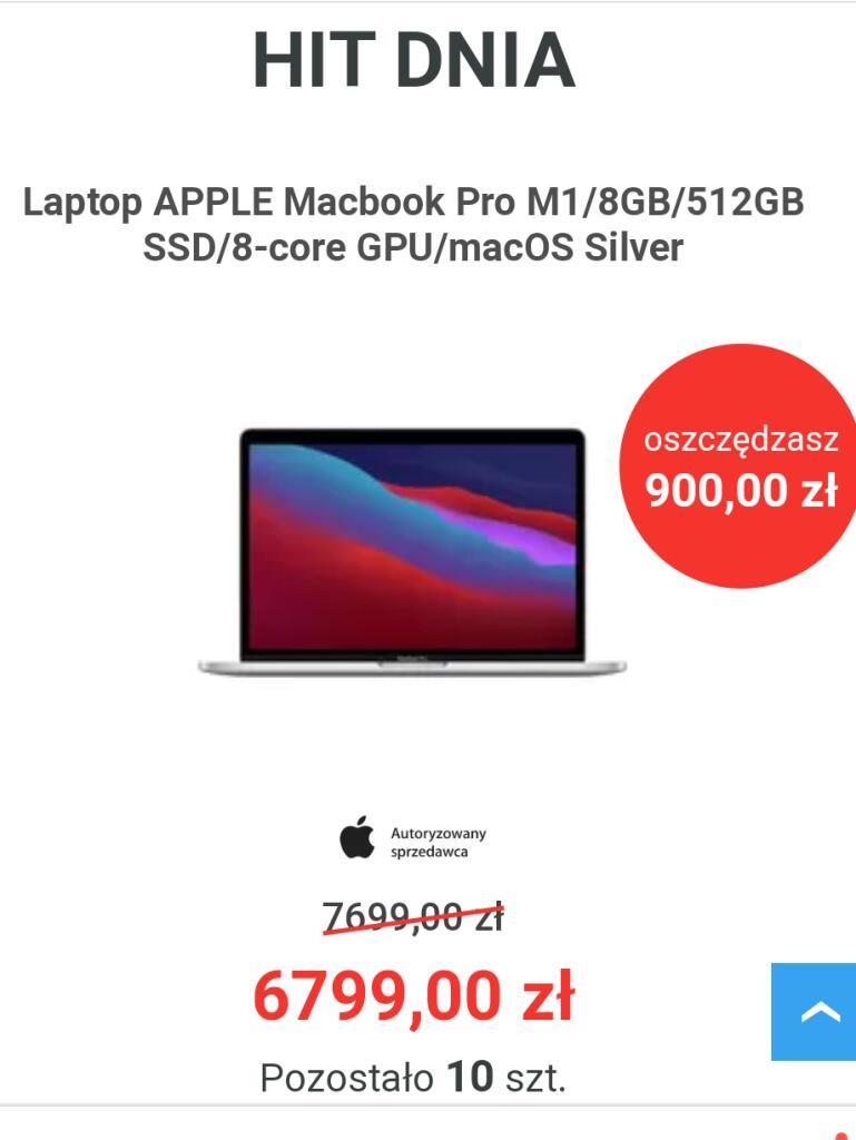 Laptop APPLE Macbook Pro M1/8GB/512GB SSD/8-core GPU/macOS Silver HIT DNIA w Neo24