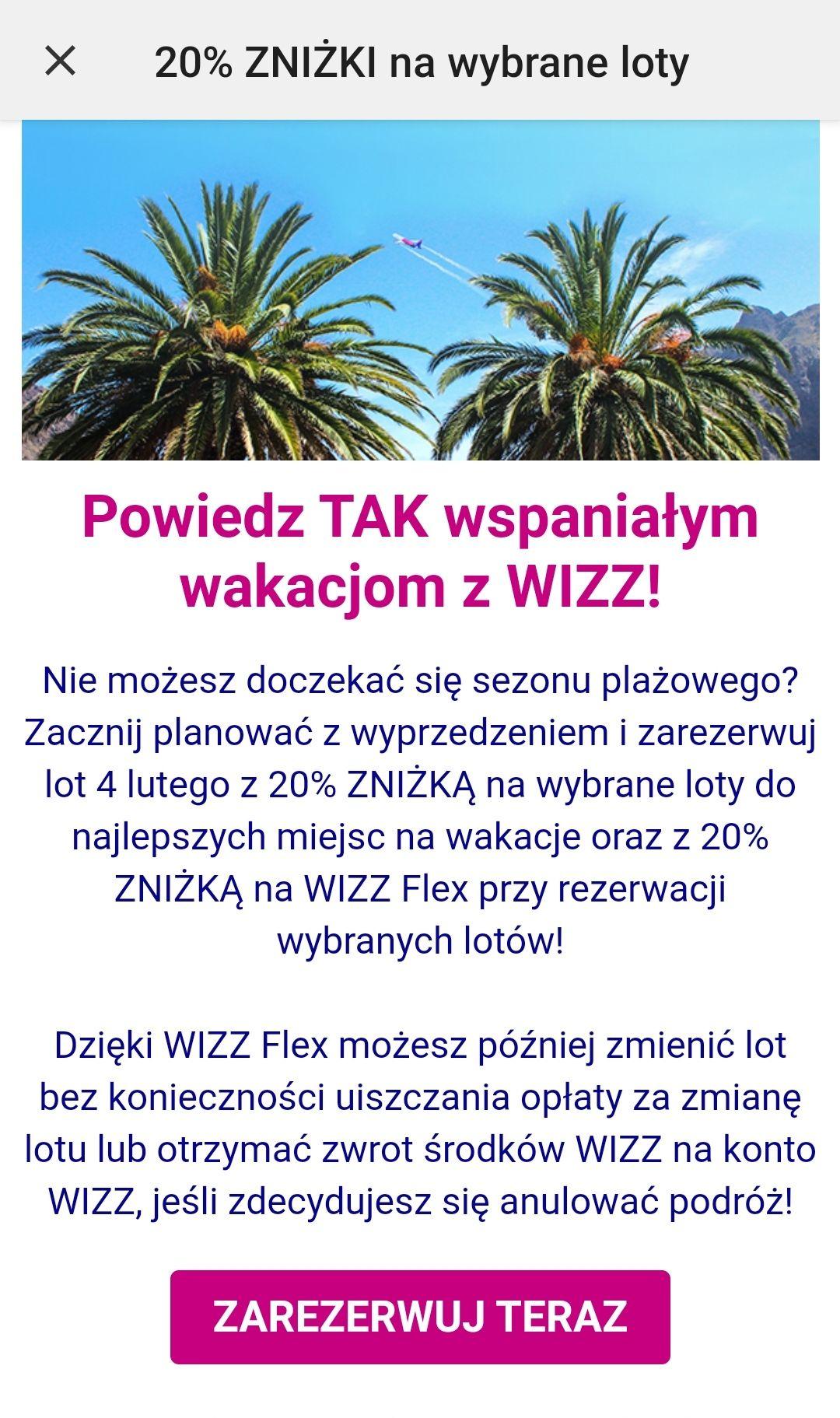 Zniżka 20% na wybrane loty Wizz air i 20% zniżki na Wizz Flex