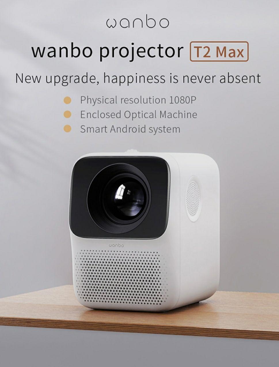 XIAOMI Wanbo T2MAX 1080P 5000 lumenów mini projektor @Banggood
