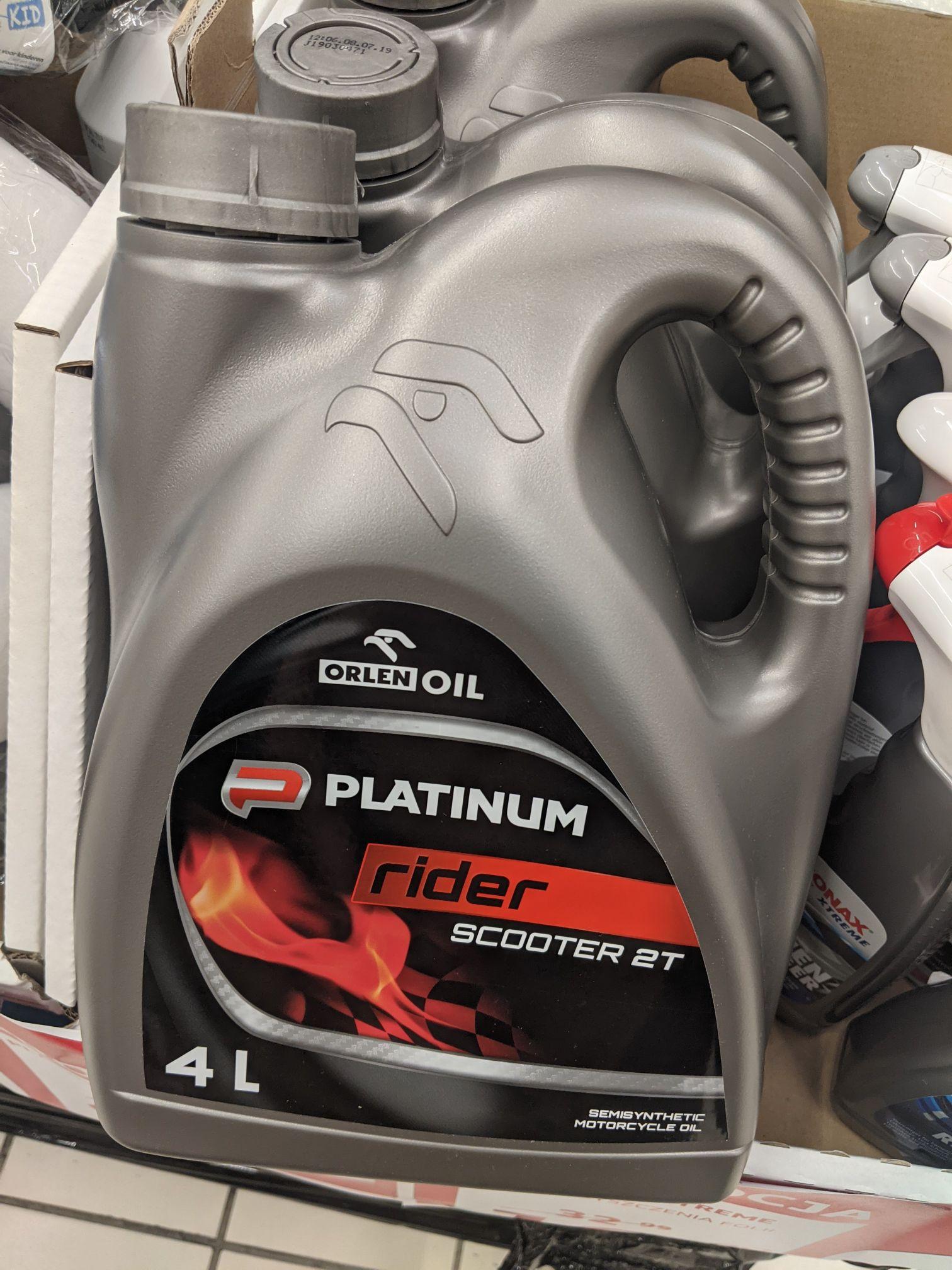 Półsyntetyczny olej Orlen Platinum Rider Scooter 2T 4litry, oraz inne produkty w wyprzedaży. Auchan Sosnowiec
