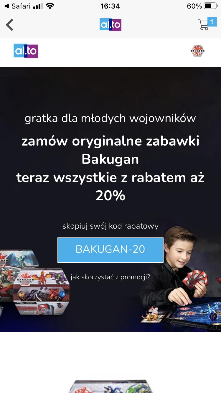 Wszystkie zabawki Bakugan z rabatem 20%. al.to