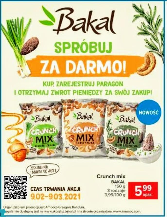 Przekąski,bakalie Bakal Crunch mix 150 g trzy rodzaje - spróbuj za darmo, Carrefour