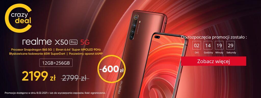 Smartfon Realme x50 pro 12/256GB - promocja od 08.02
