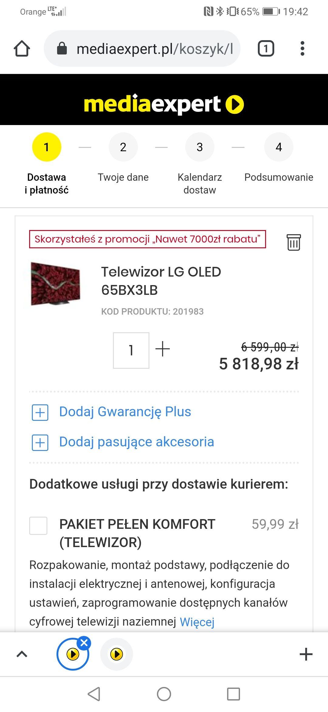 TELEWIZOR LG OLED BX 65 CALI + JBL 500 BT