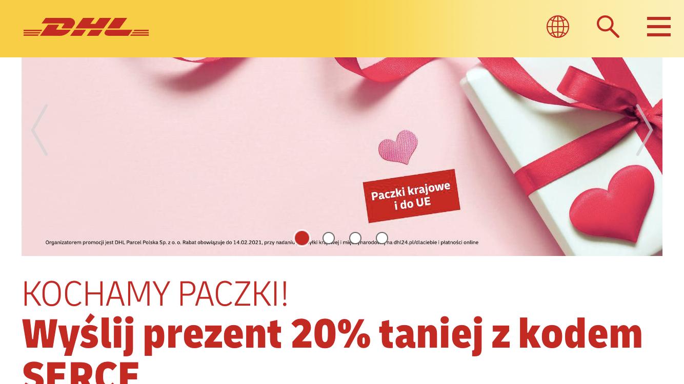 DHL Paczki krajowe i do UE z rabatem 20% na Walentynki.