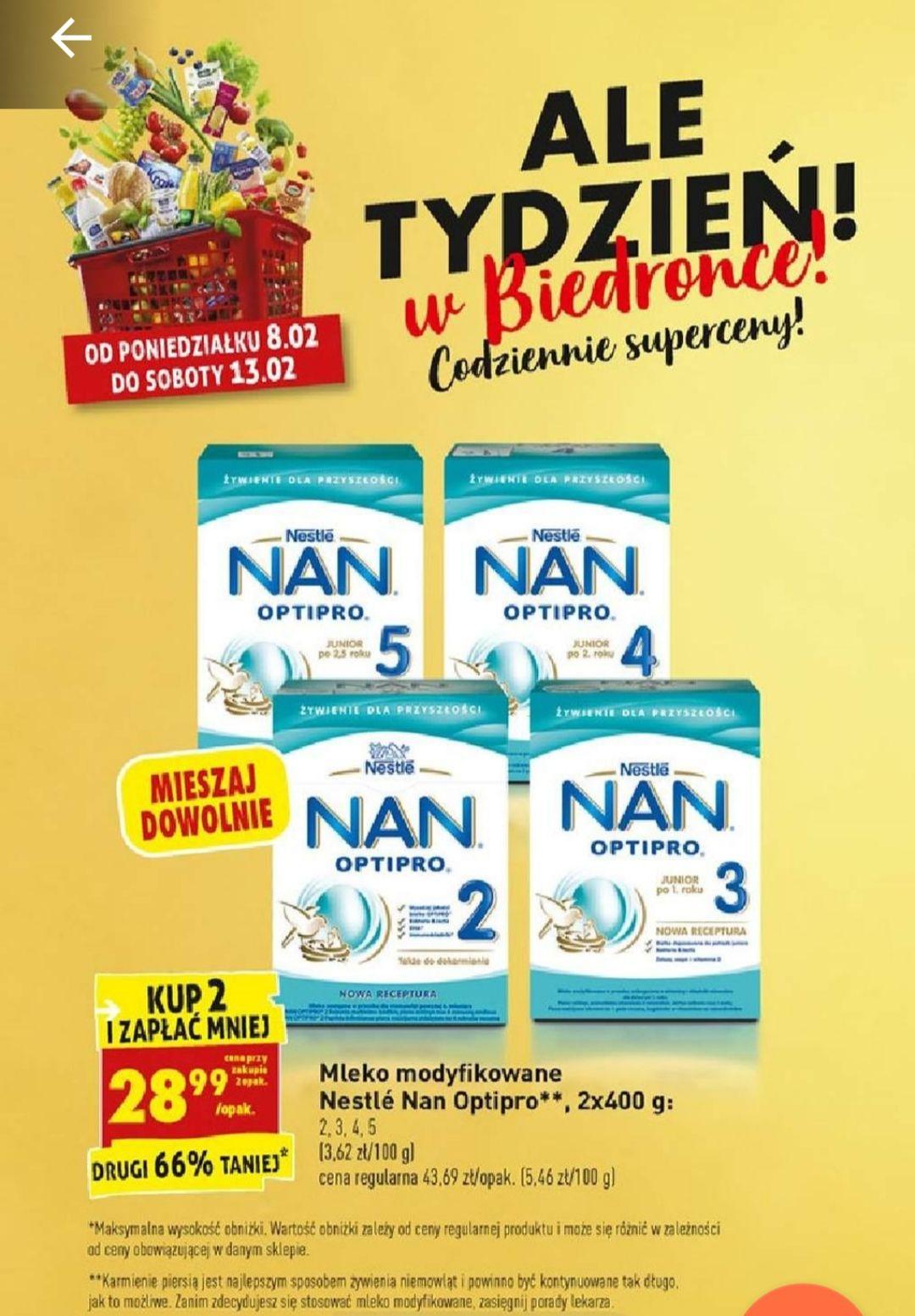 Mleko modyfikowane Nestle Nan Optipro 2x400g przy zakupie 2 op. Biedronka