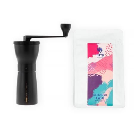 Młynek Hario Ceramic Coffee Mill Mini-Slim PRO Black + Kawa ziarnista HAYB