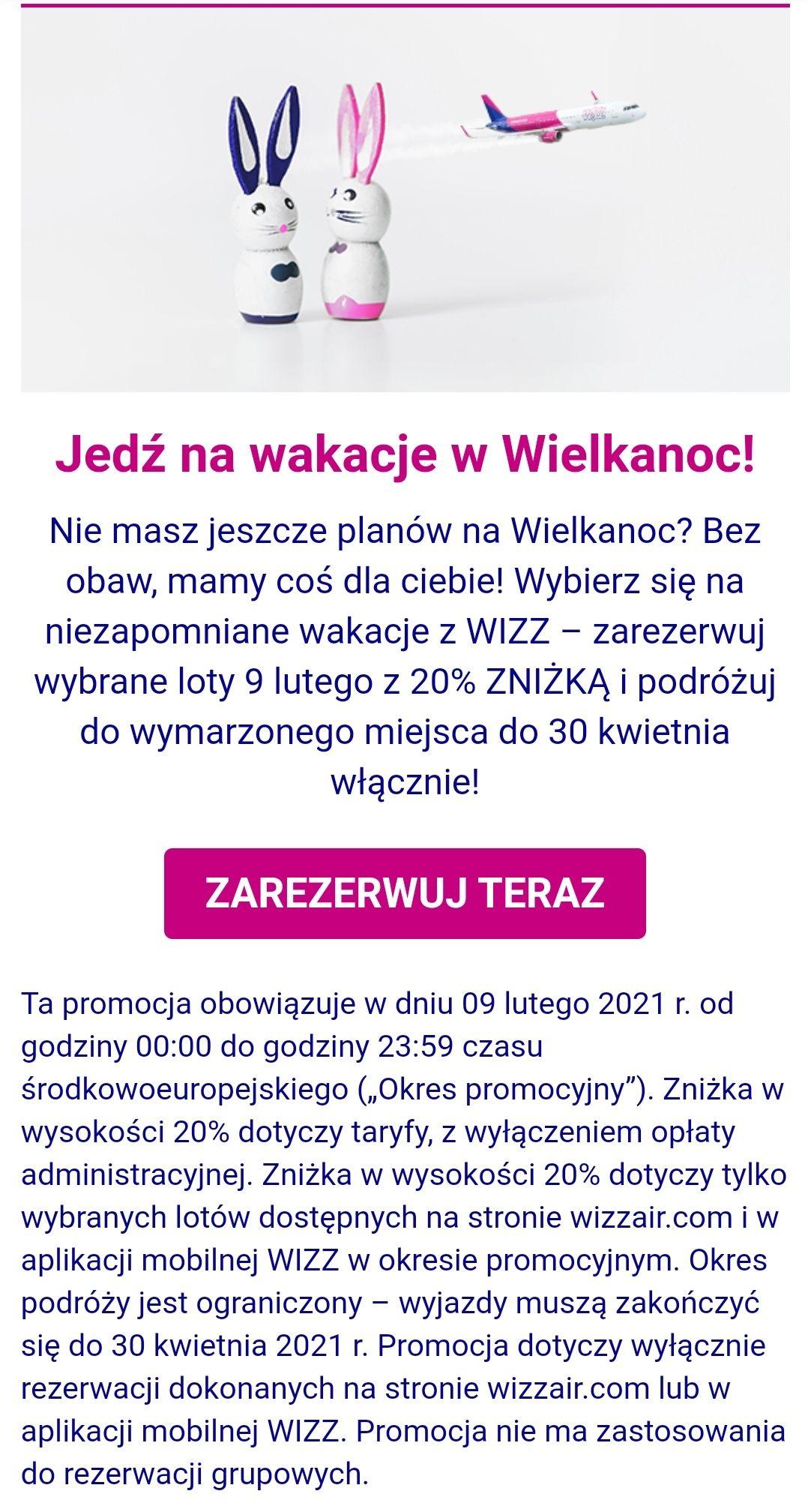 Obniżka biletów (-20%) w Wizzair na walentynki