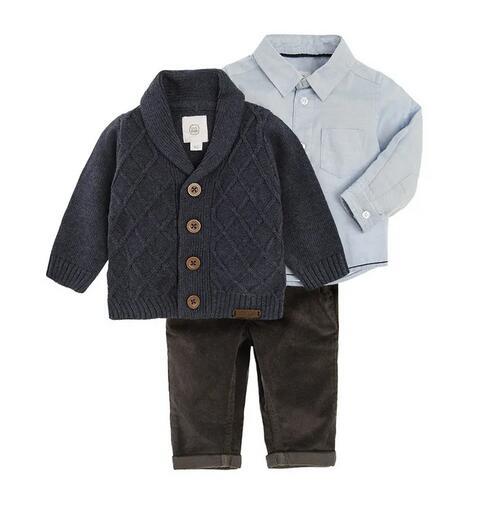 Bawełniany komplet - spodnie, koszula, sweter za 48zł (rozm.62-86) @ Smyk