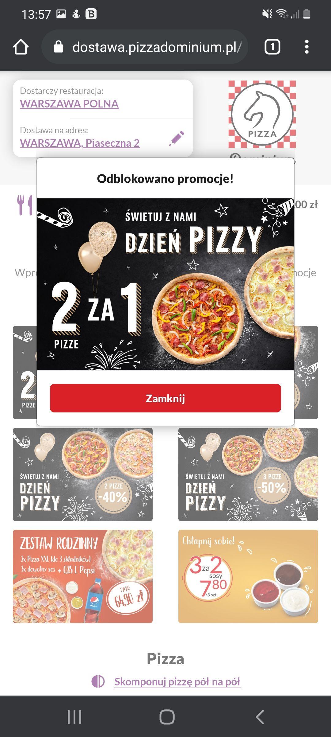Kod na pizze w. Dominium