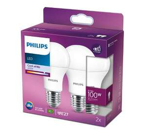 Dwie żarówki Philips LED 12,5 W (100 W) E27 chłodna biel 4000 K. Dostawa do sklepów bez opłat.