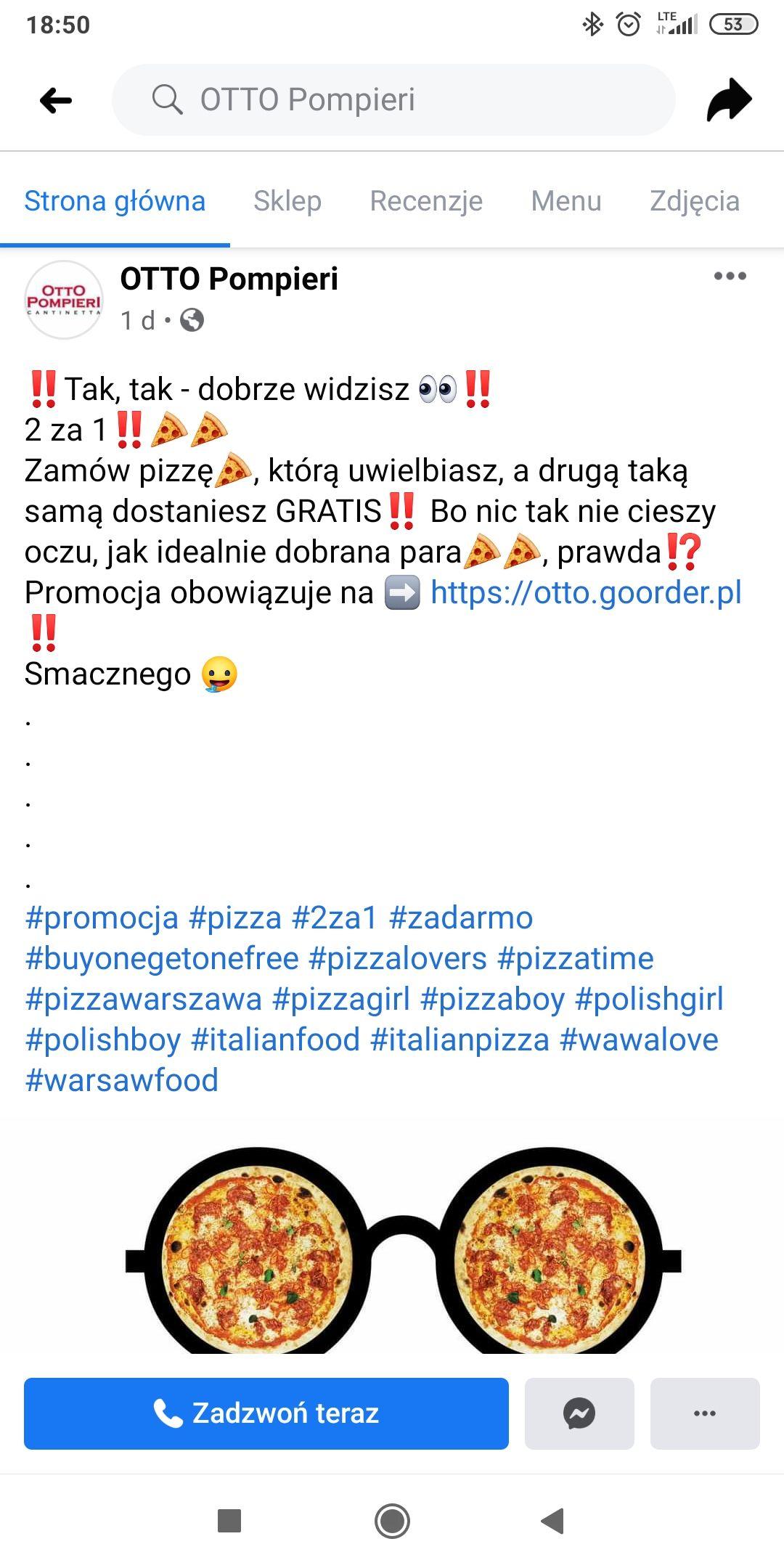 Otto Pompieri - dwie pizze w cenie jednej + puszka coca cola gratis. Warszawa Plac Bankowy