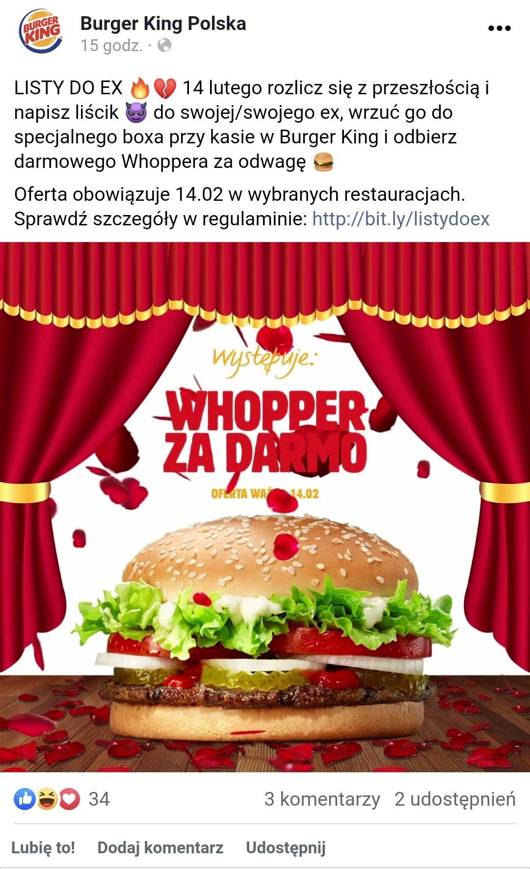 Darmowy Whopper w wybranych restauracjach Burger King