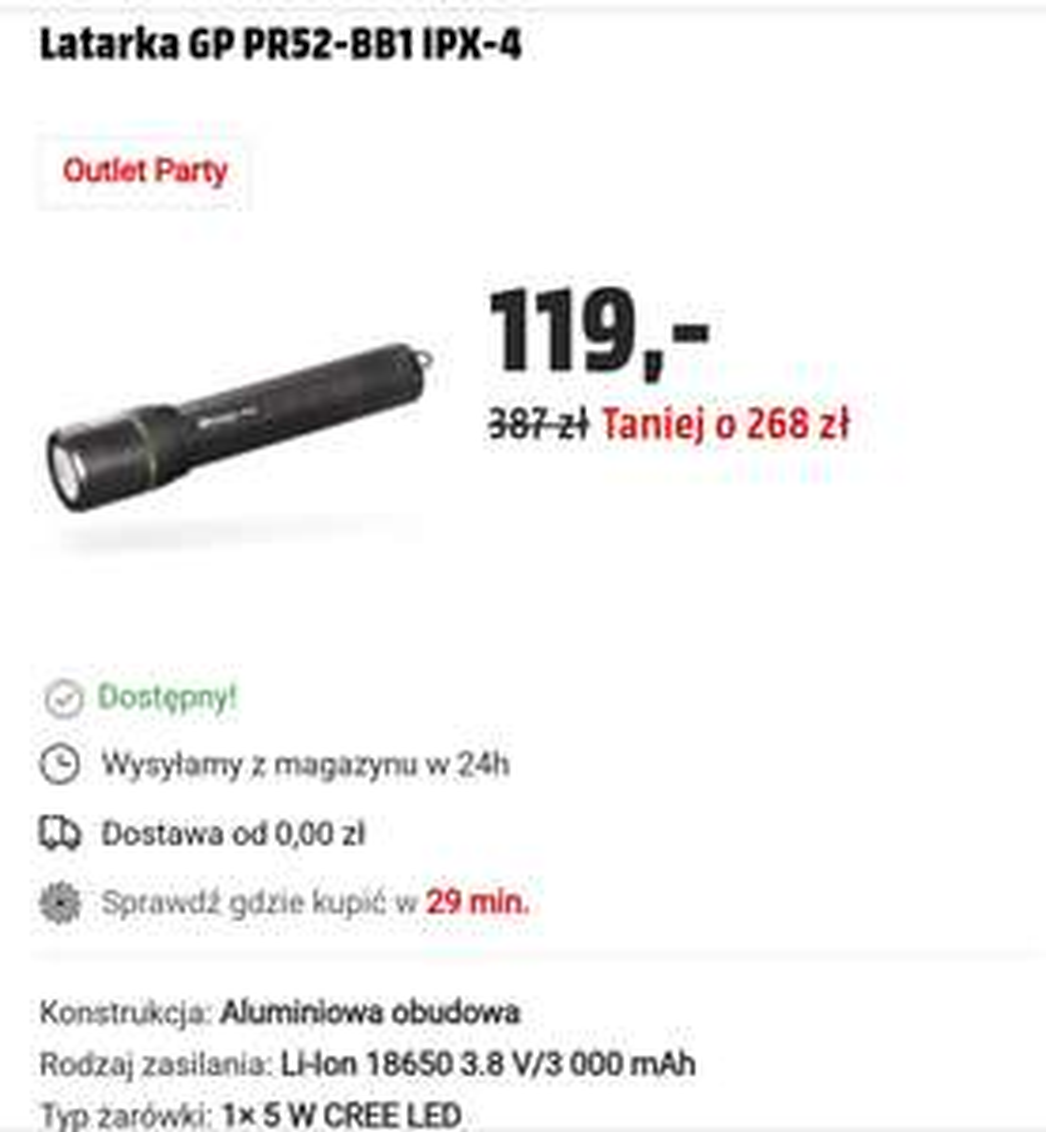 Latarka GP PR52-BB1, 5W Cree LED, IPX-4, ładowalna