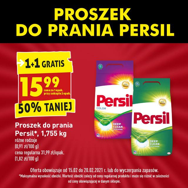 Persil proszek do prania 1+1 gratis. 15,99 przy zakupie dwóch opakowań w Biedronce