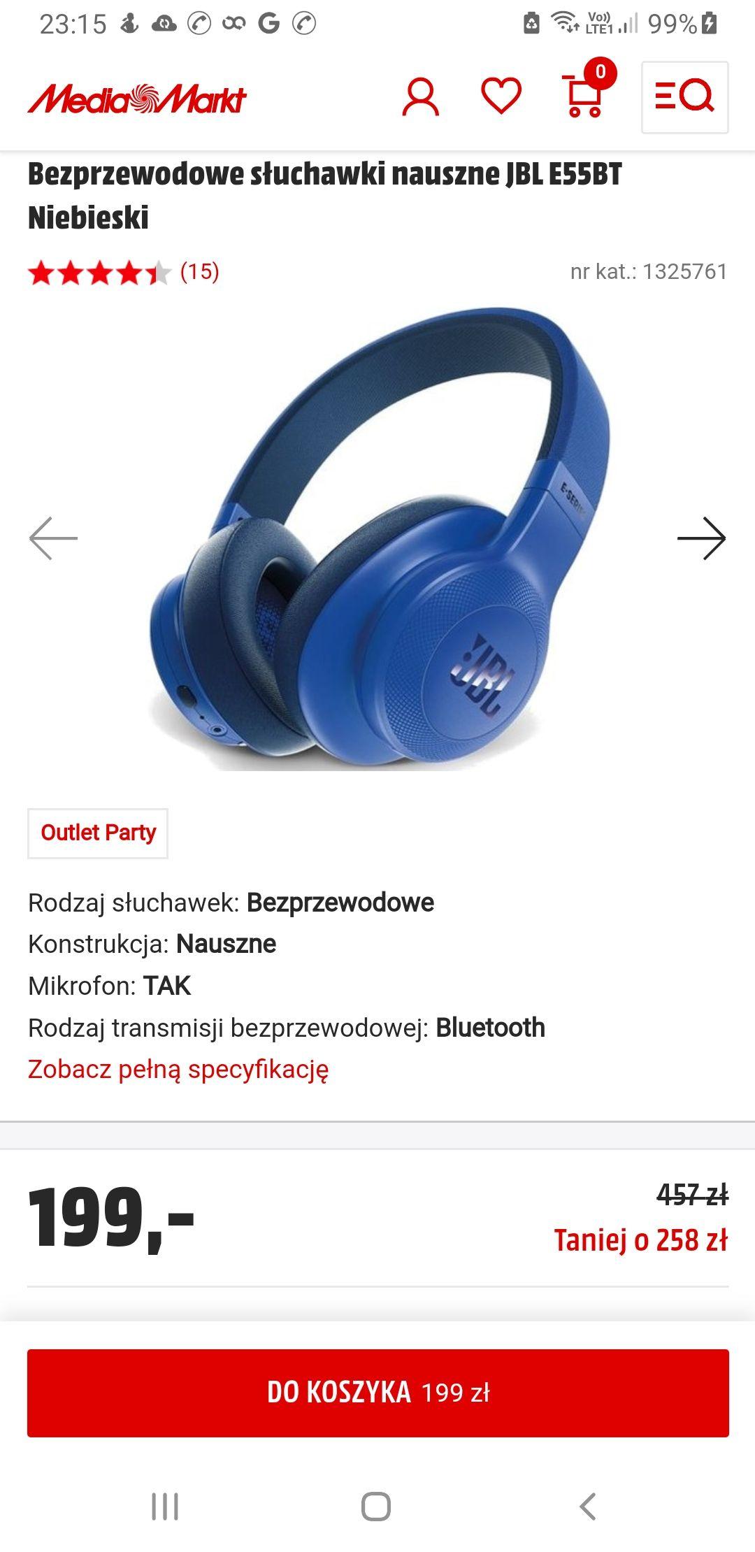 Bezprzewodowe słuchawki nauszne JBL E55BT (Lokalnie - ekspozycja)