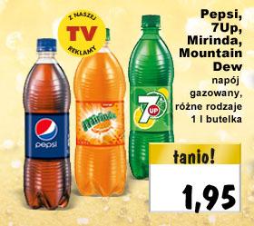 Pepsi, 7Up, Mirinda i Mountain Dew 1 litr za 1,95zł @ Kaufland