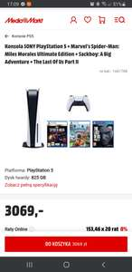 Konsola SONY PlayStation 5 + Marvel's Spider-Man: Miles Morales Ultimate Edition + Sackboy: A Big Adventure + The Last Of Us Part II