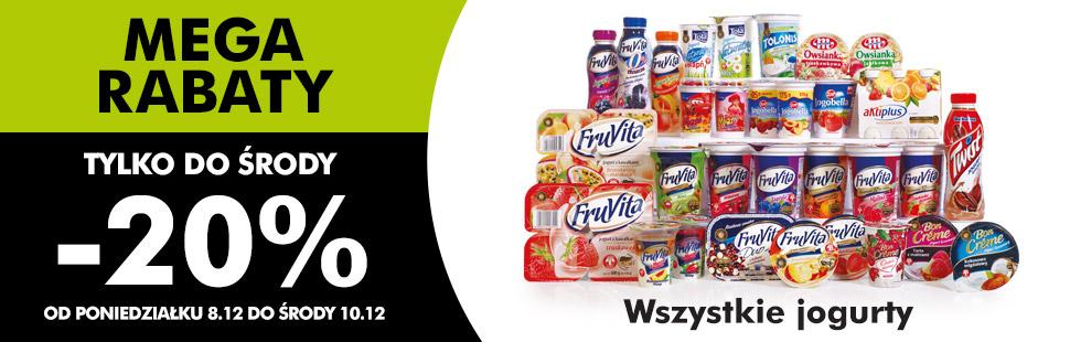 Wszystkie jogurty -20% @ Biedronka