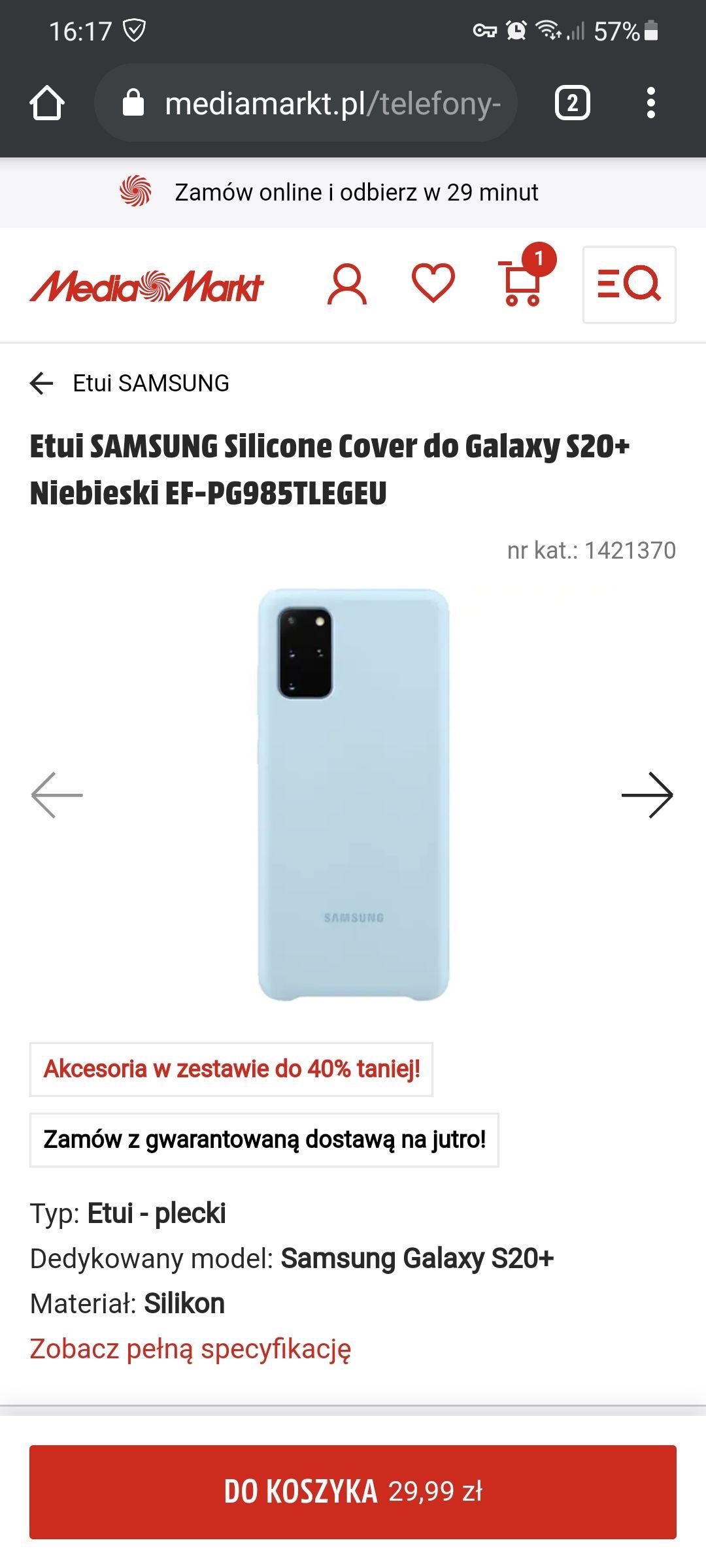 Etui SAMSUNG Silicone Cover do Galaxy S20+ Niebieski EF-PG985TLEGEU