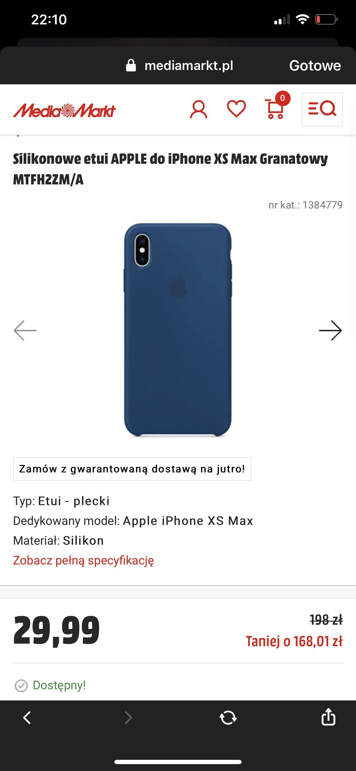 Silikonowe etui APPLE do iPhone XS Max Granatowy MTFH2ZM/A