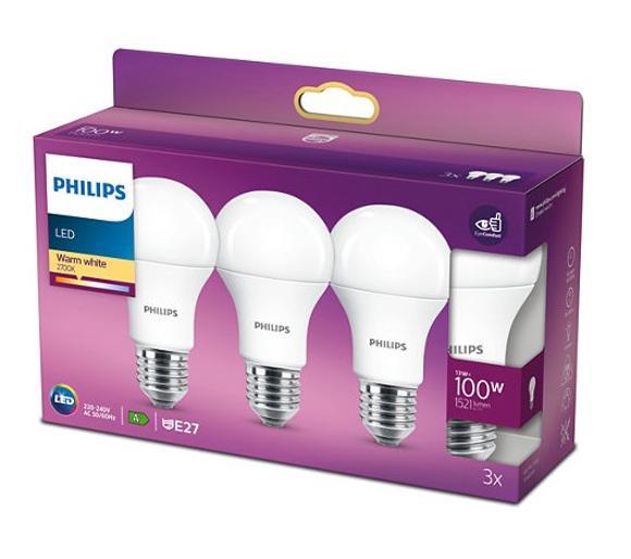 Żarówki Philips Led 13 W (100 W) E27 3 szt (ciepłe białe - 2700K)