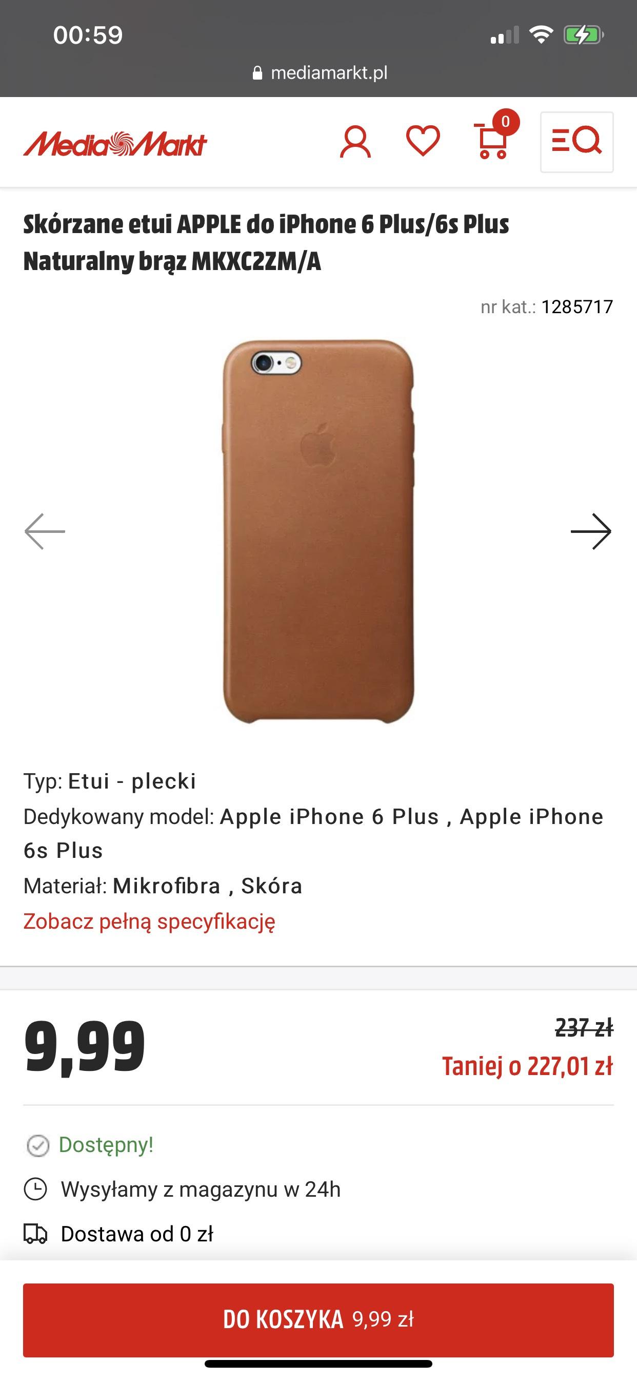 Skórzane etui APPLE do iPhone 6 Plus/6s Plus Naturalny brąz MKXC2ZM/A