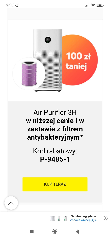 Media expert. Xiaomi air purifier 3h i Xiaomi air purifier Pro z filtrem gratis, zestaw nawilżacz plus mini odkurzacz Xiaomi za 299