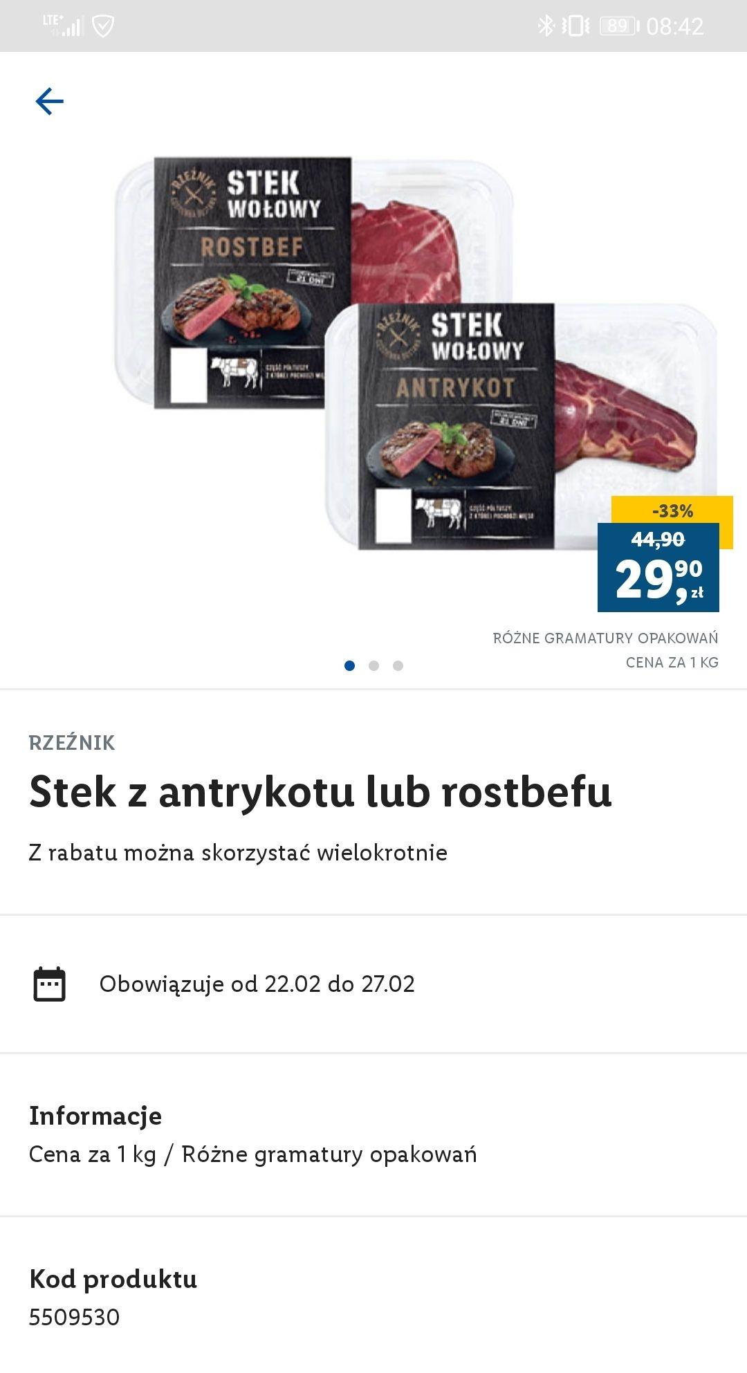 Lidl Plus - stek wołowy z rostbefu lub antrykotu -33% (29.90zł/kg)