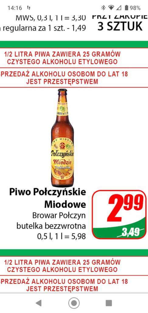 Piwo Polczynskie miodowe /Dino/