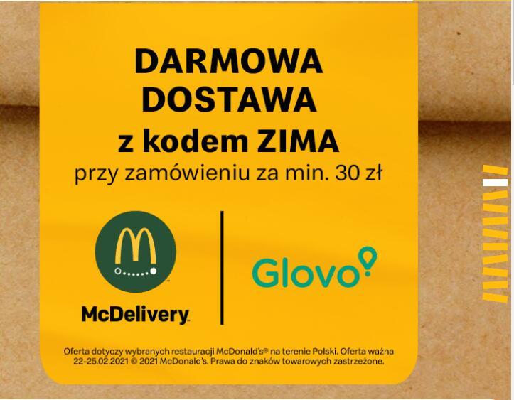 Darmowa dostawa McDonald's w GLOVO MWZ 30zł