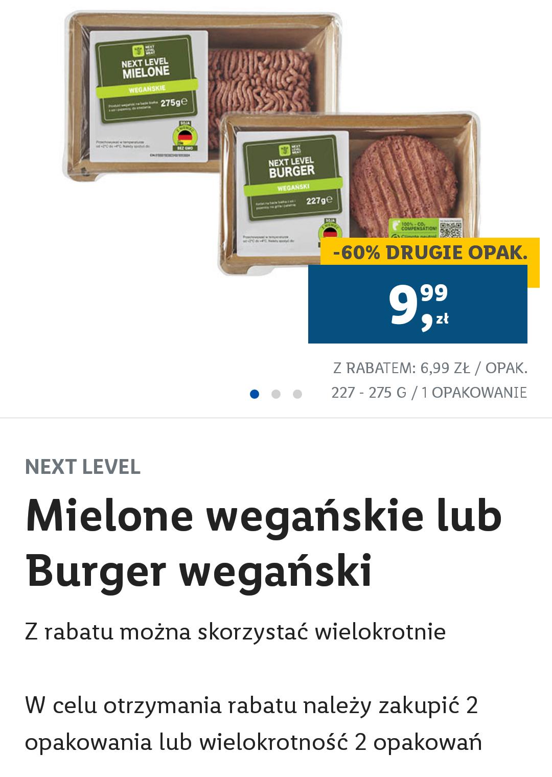 Lidl Plus Mielone wegańskie lub burger wege drugi produkt -60%