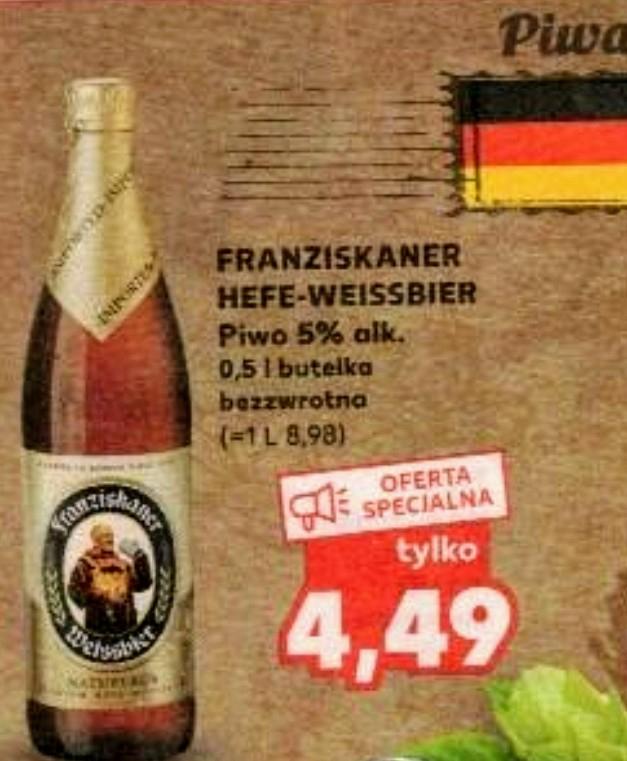Piwo pszeniczne Franziskaner Hefe-Weissbier 0,5 l alk. 5%, butelka bezzwrotna, w Kaufland