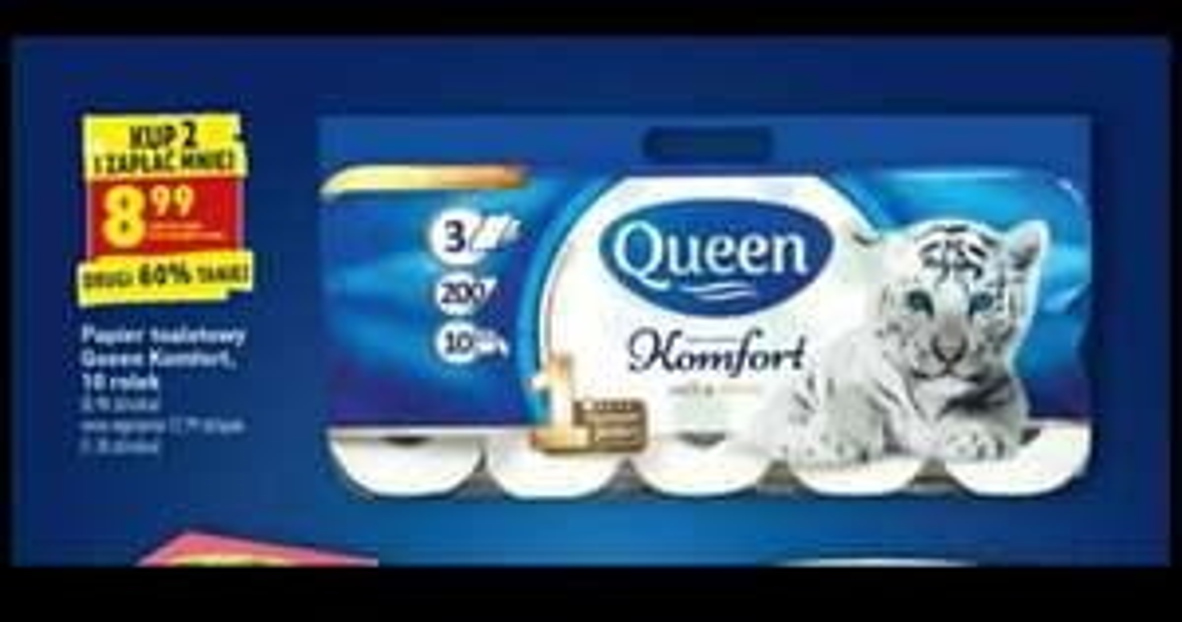 Papier toaletowy Queen 3warstwy x200 x10 rolek. Biedronka