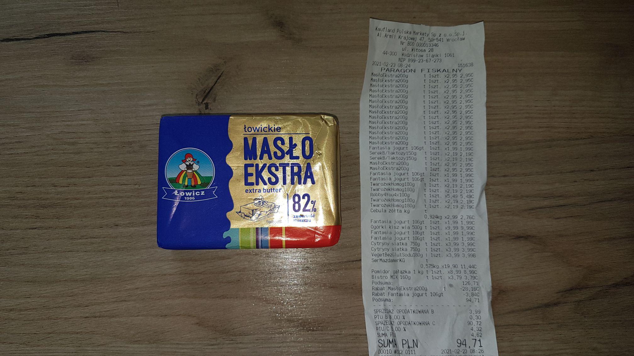 Błąd cenowy masło ekstra łowickie Kaufland Wodzisław śląski