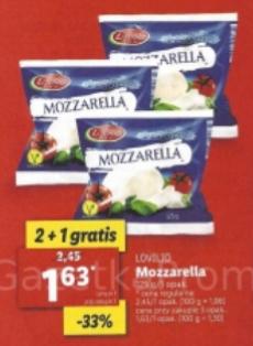 MOZZARELLA Lovilio 125g. 2+1 GRATIS. Lidl